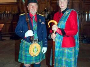Madam Pauline and Graham, Macer Venatorus wearing Hunter tartan Kilt