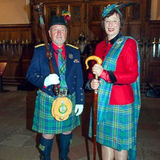 Madam Pauline and Graham, Macer Venatorus wearing Hunter tartan Kilt